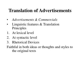 Translation of Advertisements