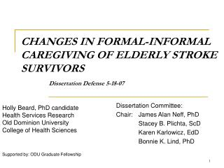 CHANGES IN FORMAL-INFORMAL CAREGIVING OF ELDERLY STROKE SURVIVORS    Dissertation Defense 5-18-07