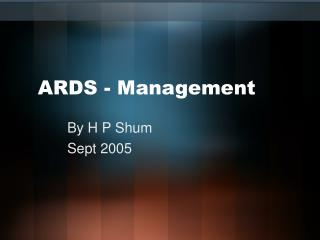 ARDS - Management