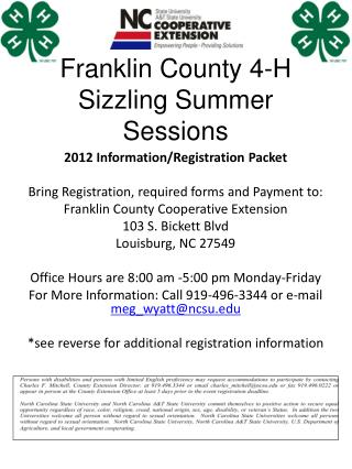 Franklin County 4-H  Sizzling Summer Sessions