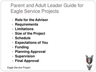 Parent and Adult Leader Guide for Eagle Service Projects