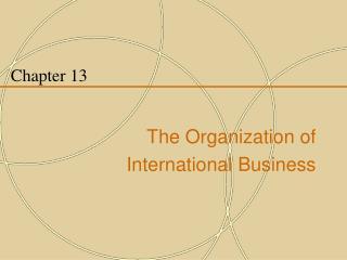 Chapter 13   The Organization of  International Business