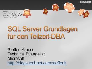 SQL Server Grundlagen  f r den Teilzeit-DBA