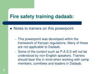 Fire safety training dadaab: