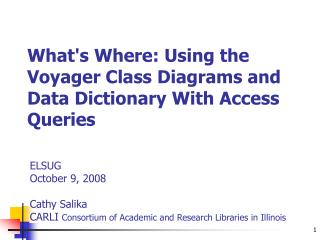 Whats Where: Using the Voyager Class Diagrams and Data Dictionary With Access Queries