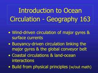 Introduction to Ocean Circulation - Geography 163