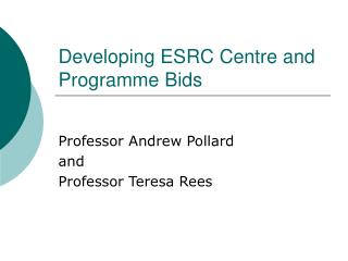 Developing ESRC Centre and Programme Bids