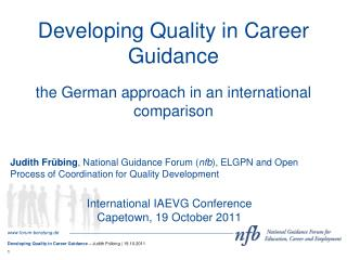 Developing Quality in Career Guidance