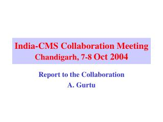 India-CMS Collaboration Meeting Chandigarh, 7-8 Oct 2004