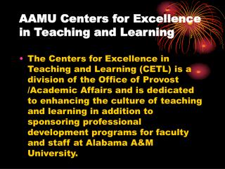 AAMU Centers for Excellence in Teaching and Learning