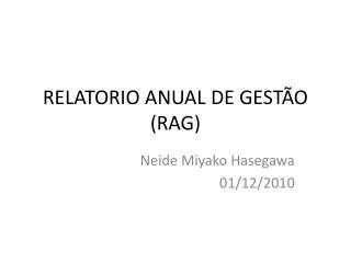 RELATORIO ANUAL DE GEST O RAG