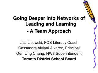 Going Deeper into Networks of Leading and Learning - A Team Approach  Lisa Lisowski, FOS Literacy Coach Cassandra Alvian