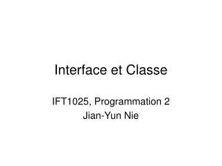 Interface et Classe