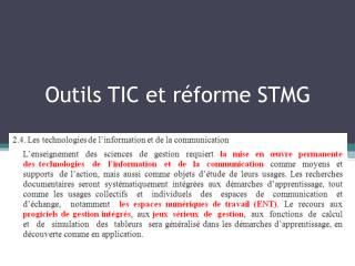 Outils TIC et r forme STMG