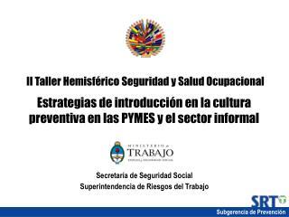 II Taller Hemisf rico Seguridad y Salud Ocupacional  Estrategias de introducci n en la cultura preventiva en las PYMES y