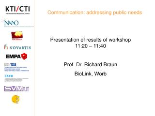 Communication: addressing public needs