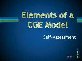 Elements of a CGE Model