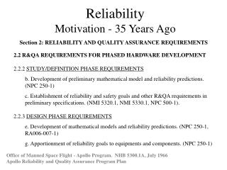 Reliability Motivation - 35 Years Ago