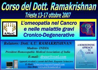 L omeopatia nel Cancro  e nelle malattie gravi  Cronico-Degenerative