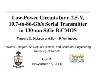 Low-Power Circuits for a 2.5-V, 10.7-to-86-Gb