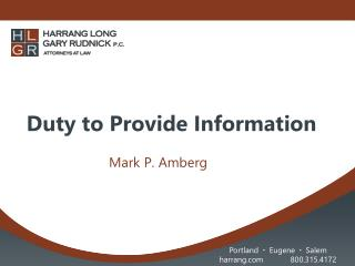 Duty to Provide Information