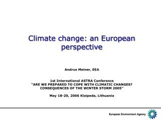 Climate change: an European perspective