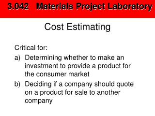 Cost Estimating