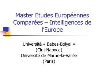 Master Etudes Europ ennes Compar es   Intelligences de l Europe