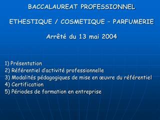 BACCALAUREAT PROFESSIONNEL   ETHESTIQUE