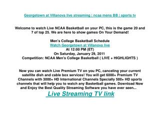Georgetown at Villanova live streaming | ncaa mens BB | spor