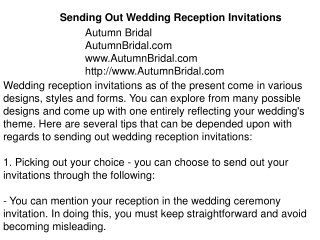Sending Out Wedding Reception Invitations