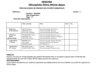 PRISE EN CHARGE EN URGENCE DES PATIENTS HEMOPHILES                   R f rence :       Version : 1      Emetteur : HESOR