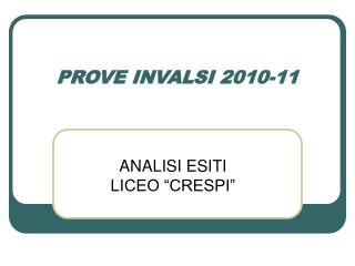 PROVE INVALSI 2010-11
