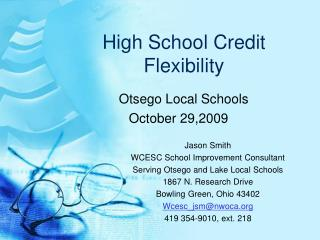 High School Credit Flexibility