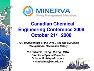 Canadian Chemical Engineering Conference 2008 October 21st, 2008