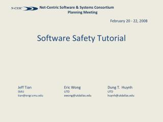Software Safety Tutorial