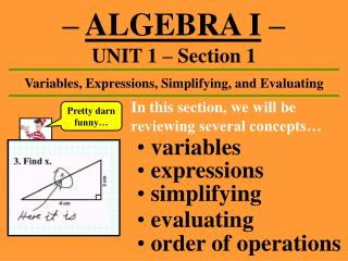 ALGEBRA I    UNIT 1   Section 1
