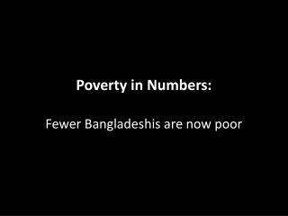 Poverty in Numbers: