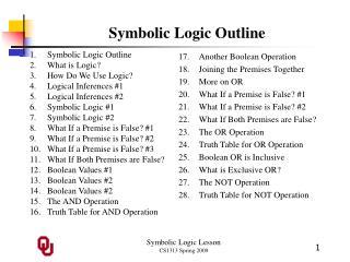 Symbolic Logic Outline