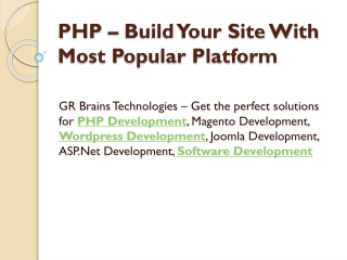 PHP – Build Your Site With Most Popular Platform