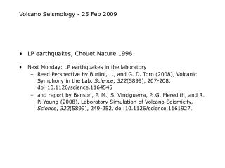 Volcano Seismology - 25 Feb 2009