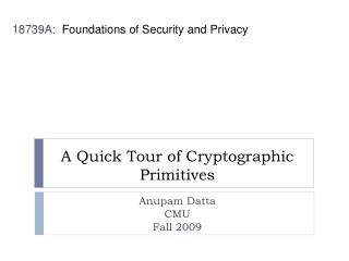 A Quick Tour of Cryptographic Primitives