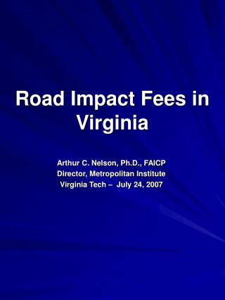 Road Impact Fees in Virginia