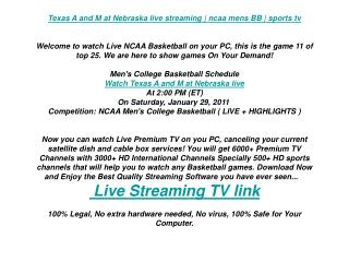 Texas A and M at Nebraska live streaming | ncaa mens BB | sp