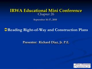 IRWA Educational Mini Conference Chapter 26