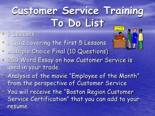 Customer Service Training To Do List