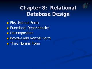 Chapter 7:  Relational Database Design
