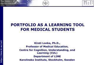 PORTFOLIO AS A LEARNING TOOL FOR MEDICAL STUDENTS