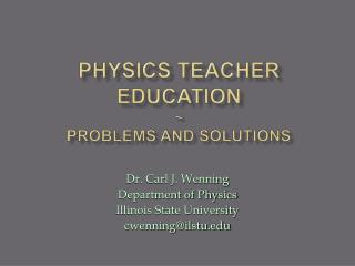 Physics Teacher Education  Problems and Solutions