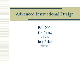Advanced Instructional Design